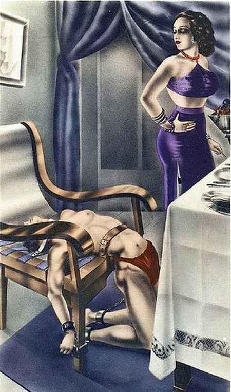 French-Femdom-Art-Male-Slave-in-Bondage