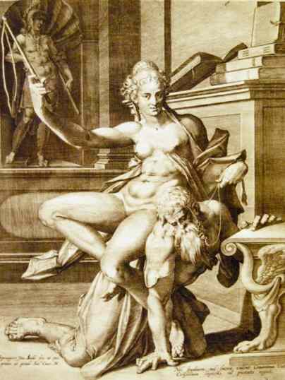 Phyllis-Riding-Aristotle-Femdom-Art